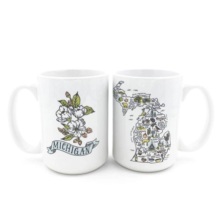 illustrated michigan map mug