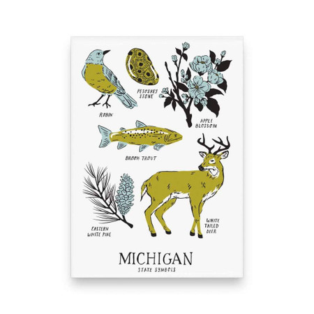 michigan state symbols magnet, birds, fish, wildlife