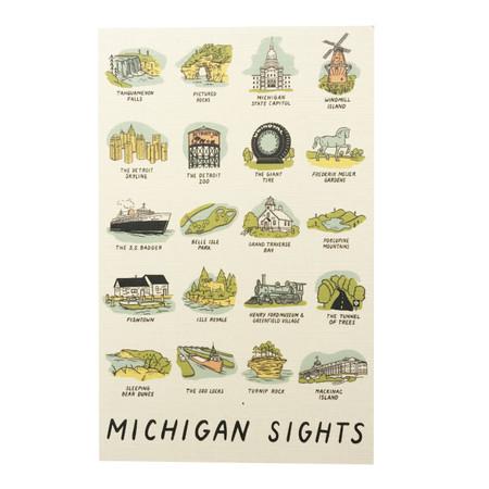 michigan sights postcard, iconic michigan sites