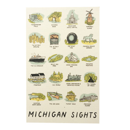 michigan sights postcard, iconic michigan sites