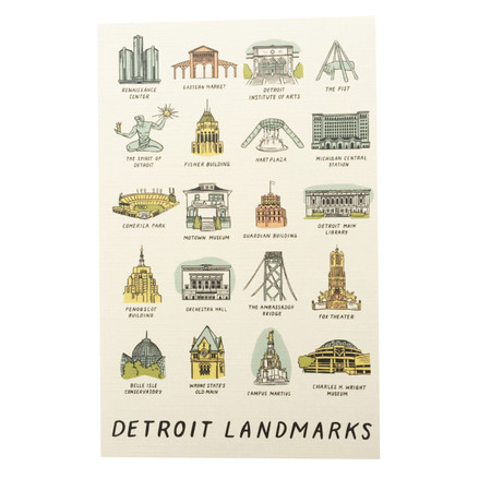detroit landmarks postcard, iconic detroit sites
