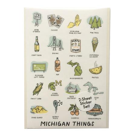 michigan things sticker set, 20 designs