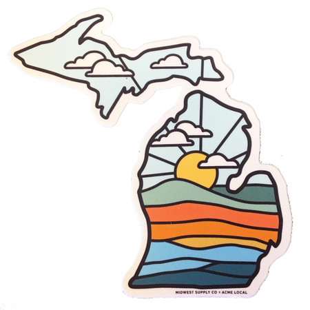 deluxe sunset michigan sticker