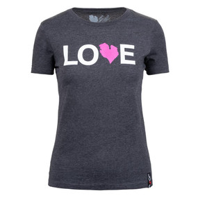 women's dark heather love tee pink, front, small, medium, large, extra large
