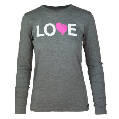 women's dark heather love long sleeve pink, front, small, medium, large,  extra large