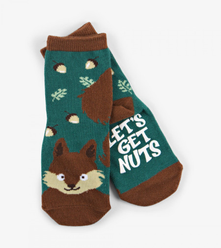 nutty squirrel kids animal face socks (age 4-7)