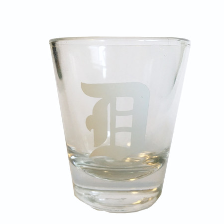 old english d shot glass, Detroit Tigers