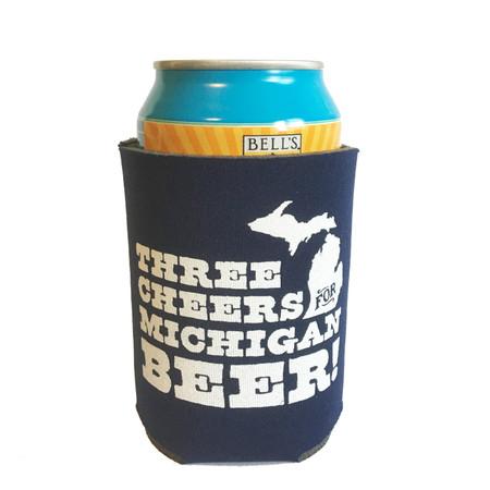 three cheers for michigan beer koozie