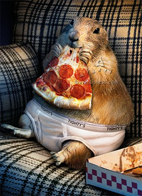 gopher in underpants and pizza birthday card