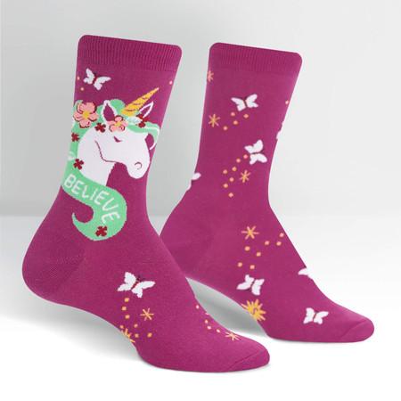 believe in magic unicorn womens crew socks
