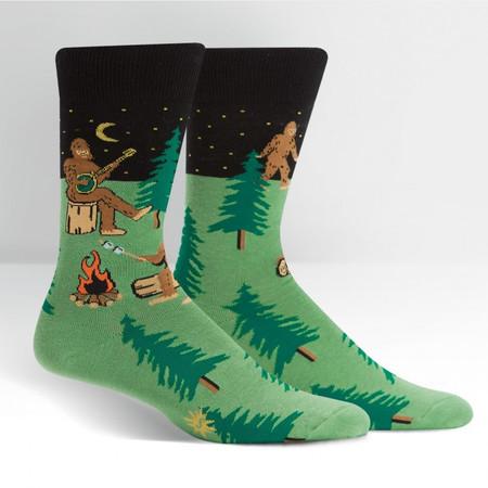 sasquatch camp out mens crew socks