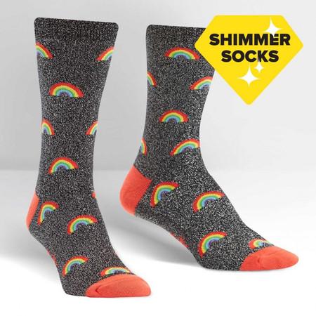 glitter over the rainbow womens crew socks