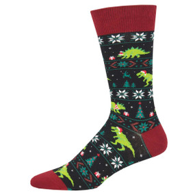 santasaurus rex mens socks