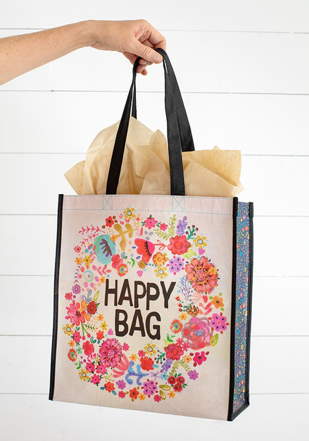 large whimsy floral wreath happy bag
