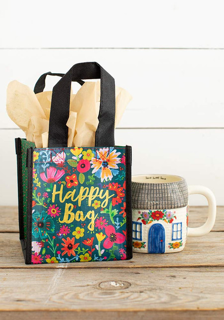 teal gold floral happy bag