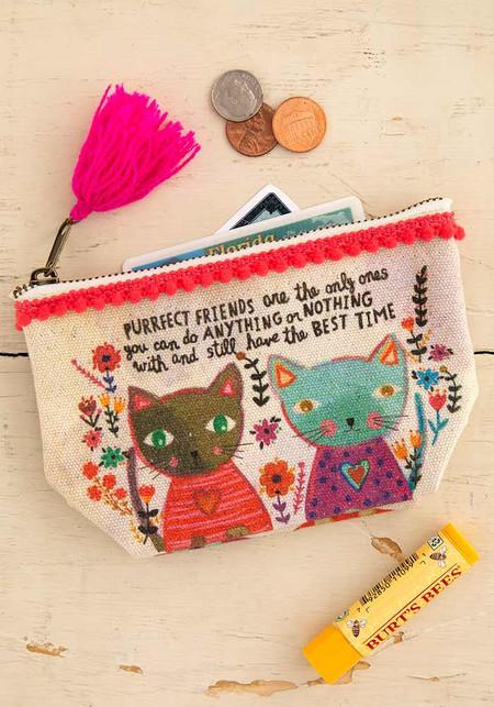 purrfect friends mini canvas pouch