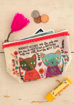 purrfect friends mini canvas pouch