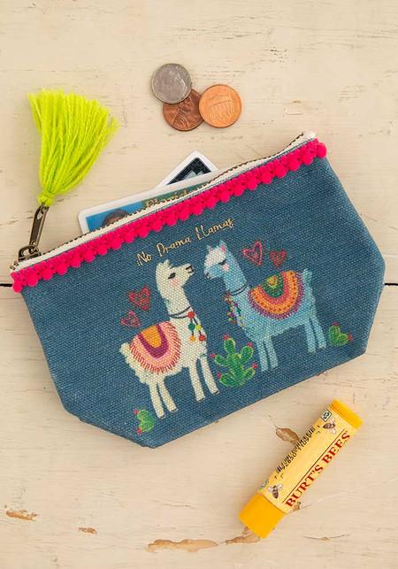 no drama llama mini canvas pouch