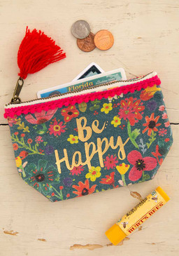 be happy mini canvas pouch