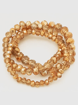 triple strand faceted beads bracelet, gold