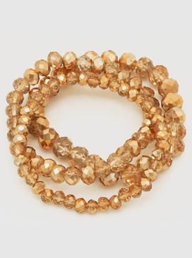 triple strand faceted beads bracelet, gold