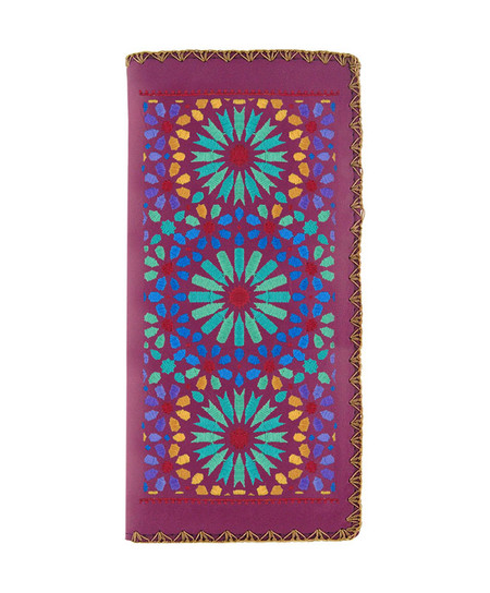 moroccan pattern embroidered vegan leather flat wallet, purple