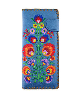 bohemian flower embroidered vegan leather flat wallet, blue