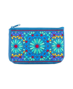 moroccan embroidered vegan leather small pouch, blue front