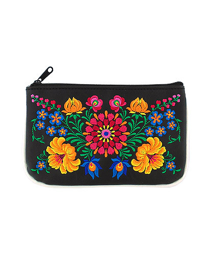 flor vegan leather small pouch, black