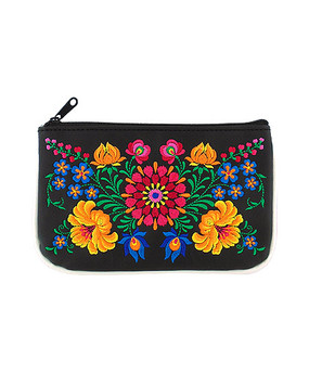 flor vegan leather small pouch, black
