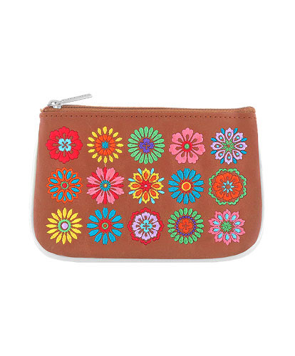 flower vegan leather embroidered small pouch, brown