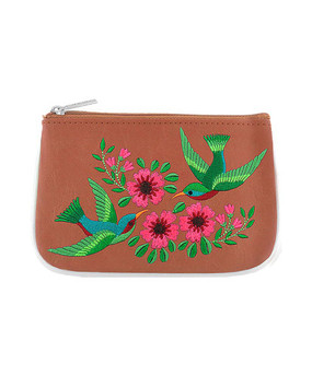 hummingbird vegan leather embroidered small pouch, brown