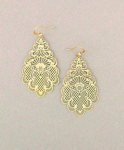gold filigree laser cut earrings