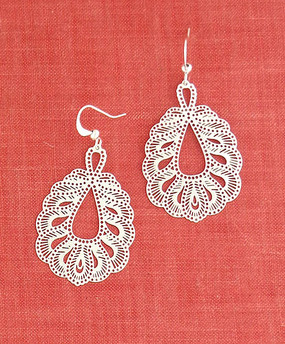 silver peacock filigree earrings