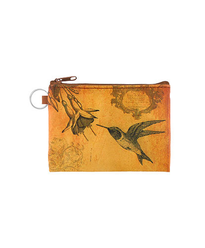 hummingbird vegan leather coin purse, front