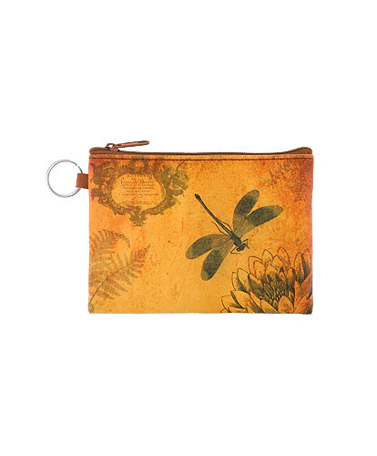 dragonfly vegan leather coin purse, front