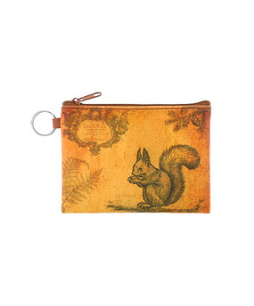 squirrel vegan leather coin purse, front