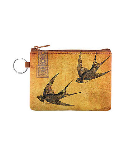 love swallow vegan leather coin purse, front