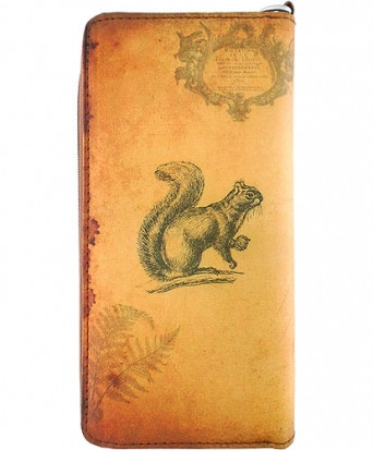 squirrel vegan leather clutch/wristlet wallet, front