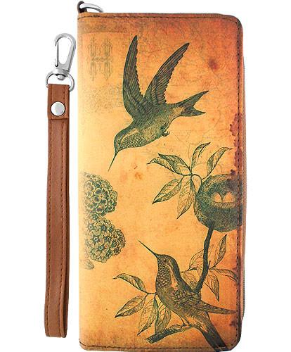 hummingbird vegan leather clutch/wristlet wallet, front
