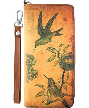 hummingbird vegan leather clutch/wristlet wallet, front