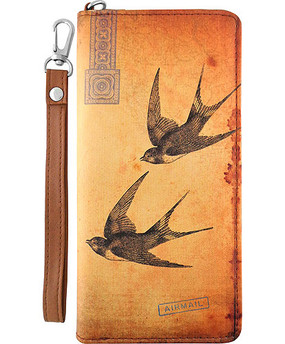 love swallow vegan leather clutch/wristlet wallet, front