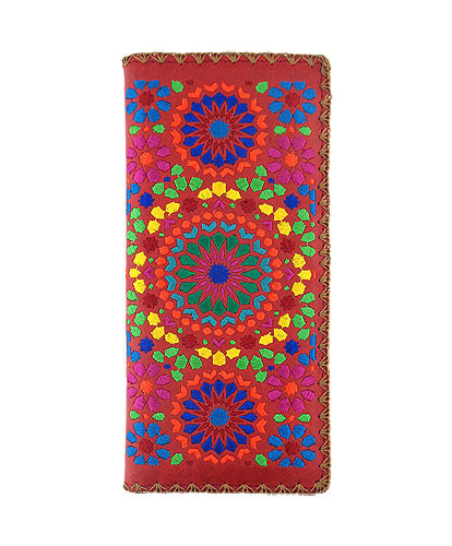red moroccan embroidered vegan leather flat wallet, front
