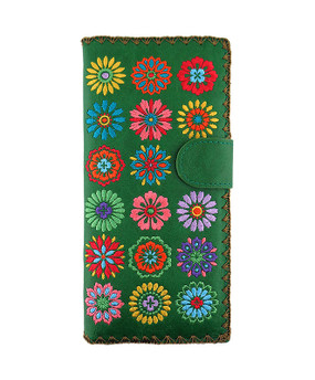 green flower vegan leather embroidered wallet, front