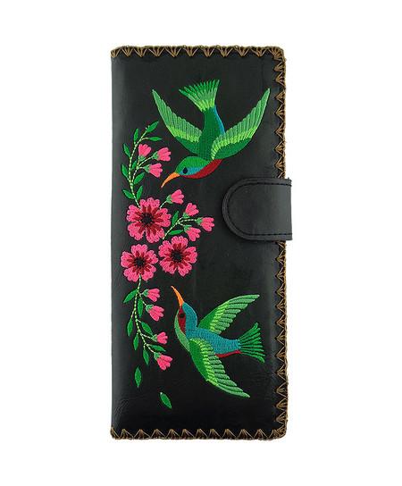 hummingbird & flower vegan leather wallet