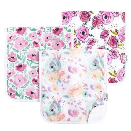 premium burp cloth set, bloom