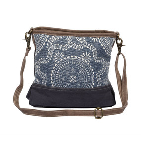 navy kilim shoulder bag, front