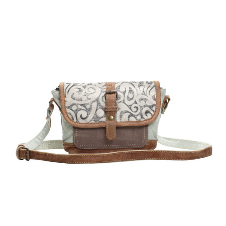leaf print small crossbody bag, front