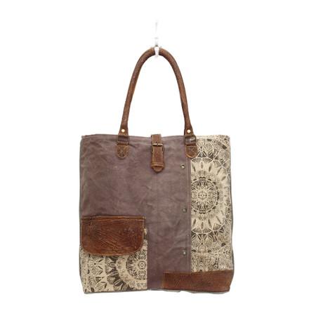 flower design canvas tote bag, front