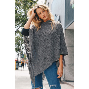 scallop knit lace poncho